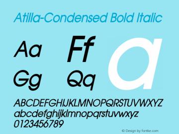 Atilla-Condensed Bold Italic 1.000 Font Sample
