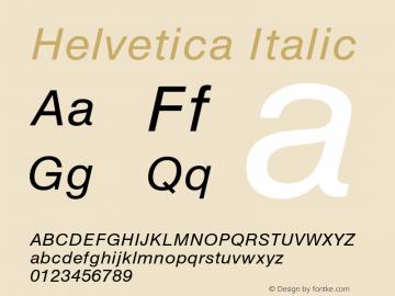 Helvetica Italic 001.000 Font Sample