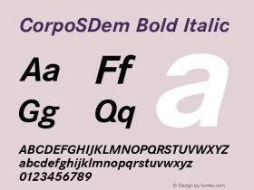 CorpoSDem Bold Italic Version 2.20 Font Sample