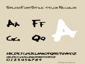 SplashFontStyle ttcon Regular Altsys Metamorphosis:10/27/94 Font Sample
