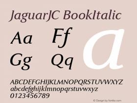 JaguarJC BookItalic Macromedia Fontographer 4.1 23/4/96 Font Sample