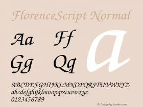 FlorenceScript Normal 1.0 Sat May 15 15:31:06 1999 Font Sample