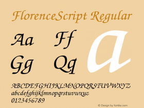 FlorenceScript Regular Altsys Fontographer 3.5  12.4.1992 Font Sample