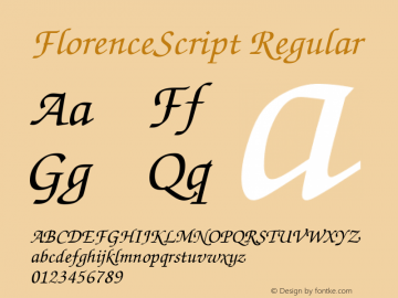 FlorenceScript Regular Altsys Fontographer 3.5  12.4.1992 Font Sample