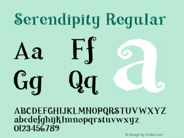 Serendipity Regular Macromedia Fontographer 4.1 12/3/99 Font Sample