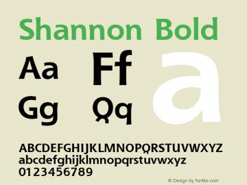 Shannon Bold Version 1.0 Font Sample