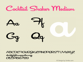 Cocktail Shaker Medium Version 2.002 2002 Font Sample