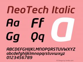 NeoTech Italic Version 1.000;PS 001.001;hotconv 1.0.38 Font Sample