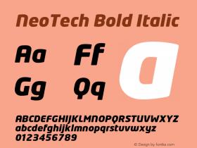 NeoTech Bold Italic Version 1.000;PS 001.001;hotconv 1.0.38 Font Sample