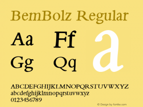 BemBolz Regular 1.0 2004-06-04 Font Sample