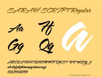 SARAH SCRIPT Regular Macromedia Fontographer 4.1.5 4/21/03图片样张