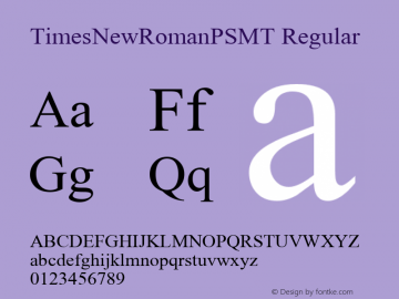 TimesNewRomanPSMT Regular Macromedia Fontographer 4.1 9-6-2004 Font Sample