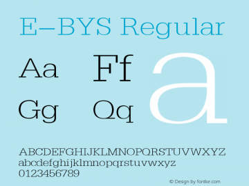 E-BYS Regular 1.00 Font Sample