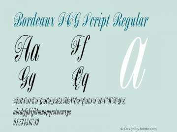 Bordeaux ICG Script Regular Altsys Fontographer 4.1 19/08/1996图片样张