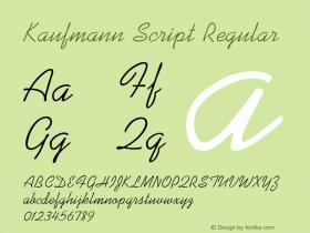 Kaufmann Script Regular Altsys Fontographer 3.5  12/2/92 Font Sample