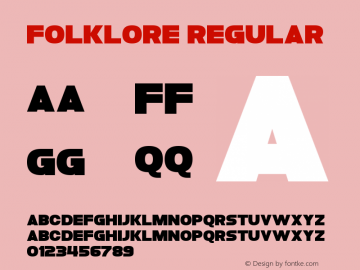 Folklore Regular Version 1.00 December 21, 2013, initial release Font Sample