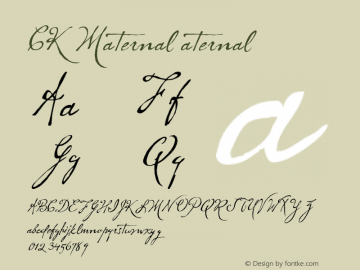 CK Maternal aternal 0 Font Sample