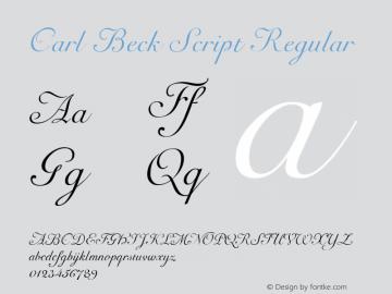 Carl Beck Script Regular Macromedia Fontographer 4.1 09.11.2002 Font Sample