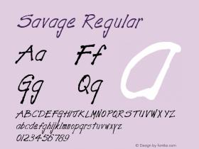 Savage Regular Altsys Fontographer 3.5  11/25/92 Font Sample