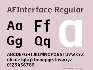 AFInterface Regular 001.000 Font Sample