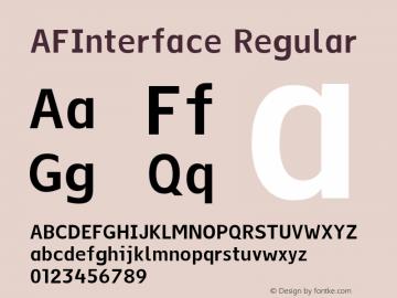 AFInterface Regular Version 001.000 Font Sample