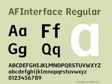 AFInterface Regular Version 1.00 Font Sample