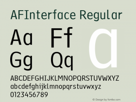 AFInterface Regular Version 1.00 Font Sample
