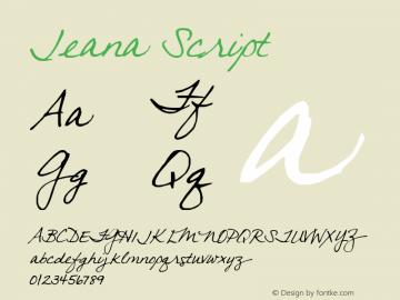 Jeana Script 2000; 1.0, initial release Font Sample