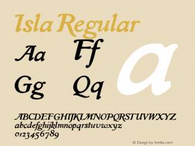 Isla Regular Version 001.000 Font Sample
