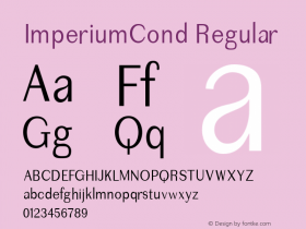 ImperiumCond Regular 1.0 2004-06-16 Font Sample