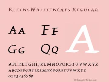 KleinsWrittenCaps Regular 1.1 2004-06-19 Font Sample