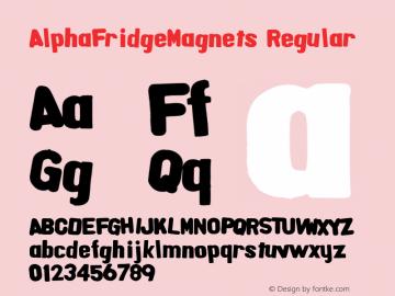 AlphaFridgeMagnets Regular Macromedia Fontographer 4.1.5 6/20/04 Font Sample