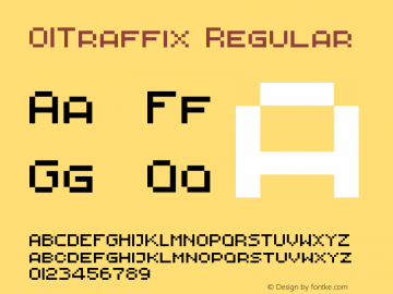 01Traffix Regular 1.00 Font Sample