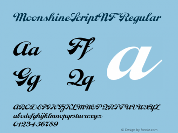 MoonshineScriptNF Regular Version 1.00 2004 initial release Font Sample