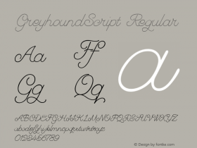 GreyhoundScript Regular Version 001.000 Font Sample