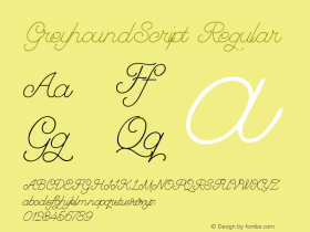 GreyhoundScript Regular Macromedia Fontographer 4.1 10/18/02 Font Sample