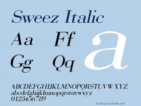 Sweez Italic Rev. 003.000 Font Sample