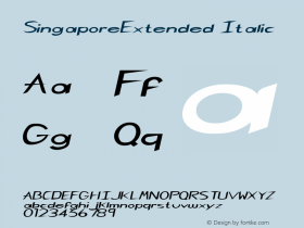 SingaporeExtended Italic Rev. 003.000 Font Sample