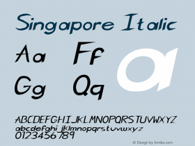Singapore Italic Rev. 003.000 Font Sample