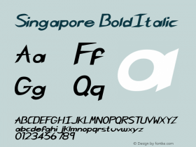 Singapore BoldItalic Rev. 003.000 Font Sample