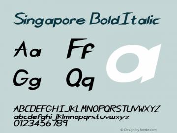 Singapore BoldItalic Rev. 003.000 Font Sample
