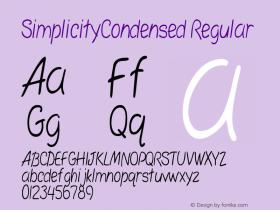 SimplicityCondensed Regular Rev. 003.000 Font Sample