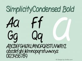 SimplicityCondensed Bold Rev. 003.000 Font Sample