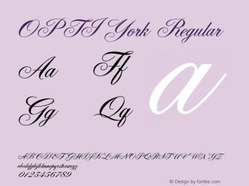 OPTIYork Regular Version 001.000 Font Sample