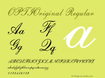 OPTIOriginal Regular Version 001.000 Font Sample