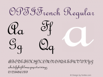 OPTIFrench Regular Version 001.000 Font Sample