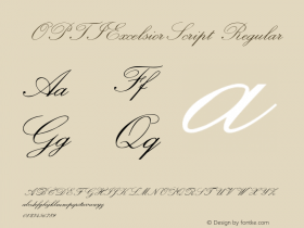 OPTIExcelsiorScript Regular Version 001.000 Font Sample