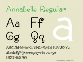 Annabelle Regular Version 1.000 2004 initial release Font Sample