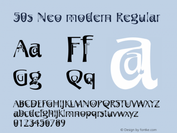 50s Neo modern Regular 001.000 Font Sample