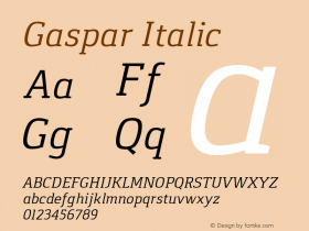 Gaspar Italic Version 1.000 2012 initial release Font Sample